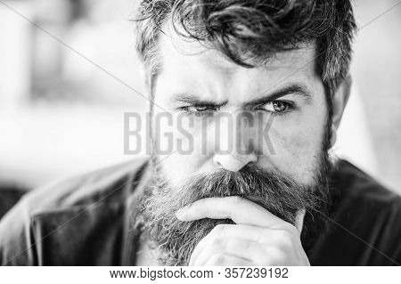 Making Hard Decision. Man With Beard And Mustache Thoughtful Troubled. Bearded Man Concentrated Face