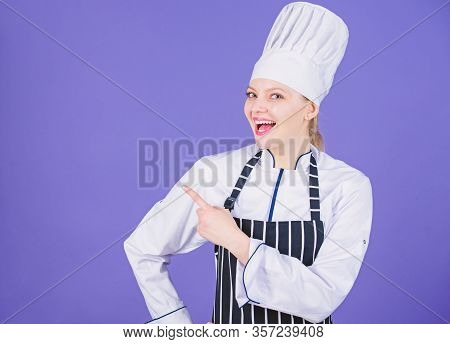 Here Is Your Menu. Culinary Expert Advertising Restaurant Menu. Happy Female Cook Pointing Finger Aw