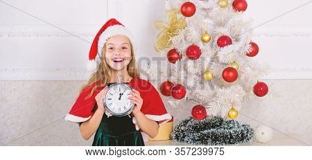 New Year Countdown. Girl Kid Santa Hat Costume With Clock Excited Happy Face Counting Time To New Ye