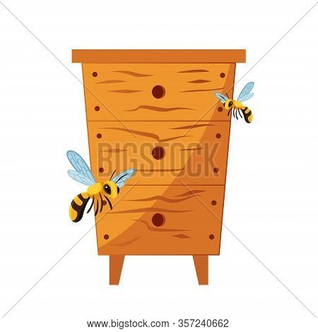 Wood Hive For Bees With Bees Around It. Illustration Of A Cartoon Wooden Beehive, For Beekeeping Agr