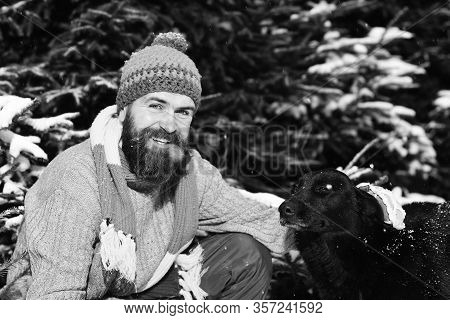 Macho With Beard And Mustache Pats Dog.