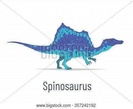 Spinosaurus. Theropoda Dinosaur. Colorful Vector Illustration Of Prehistoric Creature Spinosaurus In