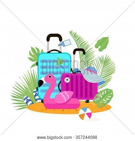 Suitcases On The Beach. Travel Bag With Hat On The Sunny Beach. Giant Inflatable Pink Flamingo.flipf