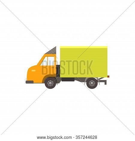Cartoon Yellow Delivery Truck. Icon Isolated On White Background. Vector Illustration