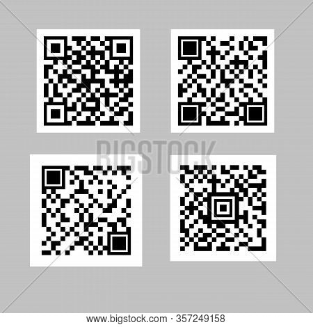 Collection Qr Code.product Inventory Badge, Codes Stripe Sticker And Package Bars. Isolated Vector I