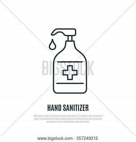 Hand Sanitizer Line Icon Isolated On White Background. Antibacterial Hand Gel Sign. Prevention Of Co
