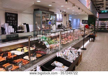Jonkoping, Sweden - August 25, 2018: Supermarket Delicatessen Section In Sweden. Monthly Consumer Sp
