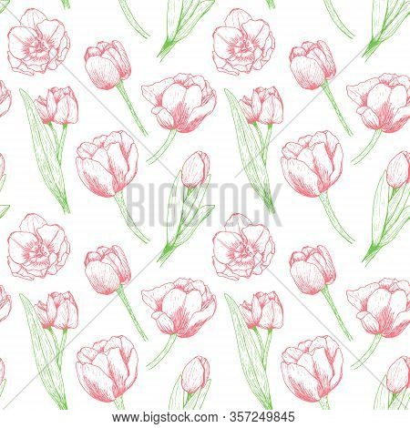 Seamless Floral Pattern With Red Tulips. Bright Flowers With Leaves On A White Background. Bright Ju