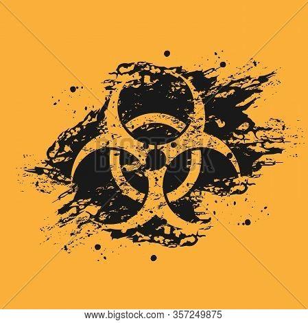 Black And Orange Grunge Background Of Biological Hazard. Biological Hazard Icon On Black Spots Of Bl