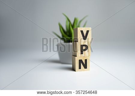 Wooden Letters Spelling Vpn - Virtual Private Network.