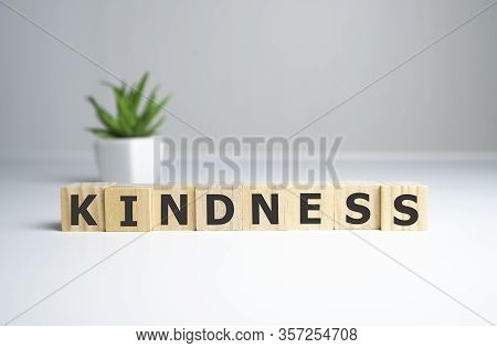 Kindness - Words From Wooden Blocks With Letters, Kindness Concept, Top View Background.