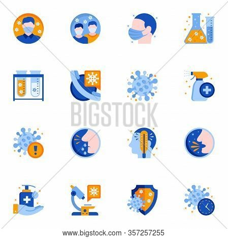 Coronavirus Epidemic Protection Flat Icons Set. Cough, Fever And Runny Nose Symptoms. Coronavirus In