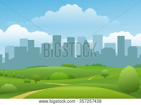 Summer City Landview. Town Buildings And Beautiful Green Land Panorama Landscape, Spring Path To Urb