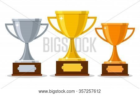 Gold Silver Bronze Trophy Cups. Game Winner Prizecups, Racing Sport Trophies, Ranking Places Goblet