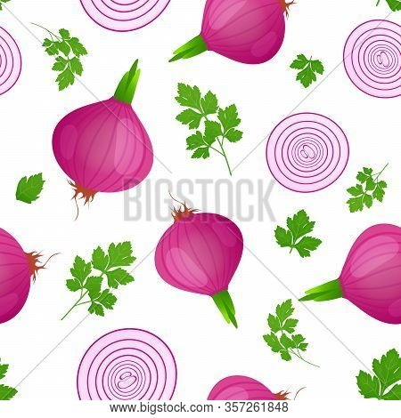 Red Onion Bulb With Green Sprout And Slice Isolated On White Background. Ripe Onion With Parsley Lea