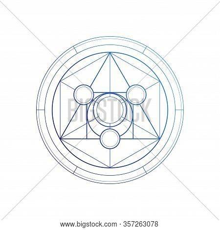 Philosopher Stone Sacred Geometry Spiritual New Age Futuristic Illustration With Transmutation Inter