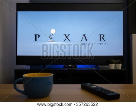 Uk, March 2020: Tv Television Pixar Animations Light Film Opener