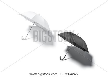 Blank Black And White Open Umbrella Mockup Lying, Top View, 3d Rendering. Empty Umbrela Canopy For W