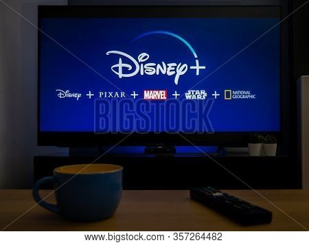 Uk, March 2020: Tv Television Disney Plus Streaming Service In Home