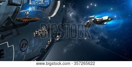 3d Illustration Of A Military Space Station Powered By An Exotic Energy Source With Extravehicular A