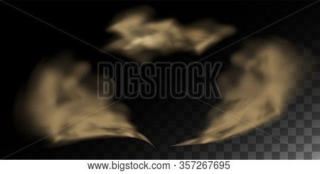 Smell Smog, Cloud Of Dust, Sand Tornado With Dirt, Dust Cloud With Particles. Realistic Vector Isola