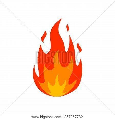 Cartoon Fire Flame Icon. Emoticon Lit Fire Silhouette Sign. Burn Fireball Emblem