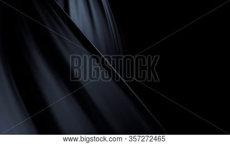 Beautiful Stylish Black Background With Developing, Flying Cloth. Black Background With Drapery And