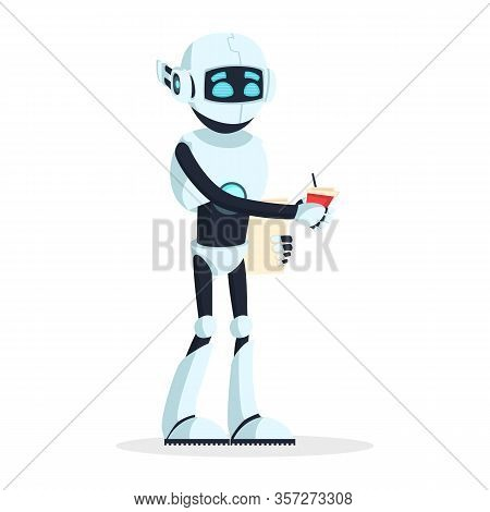 Humanoid Robot Standing And Keeping Cup Of Drink, Coffee. Android Have A Rest, Looking For New Work