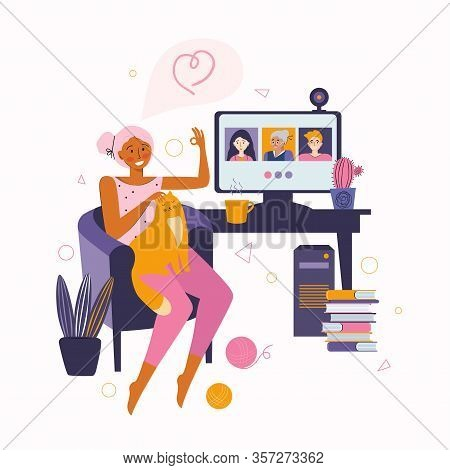 Woman Communicates With Friends And Relatives Through Online Video Communication. Spending Time At H