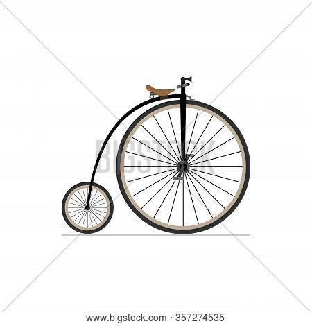 Penny Farthing Bike Flat Isolated Icon On White Background.