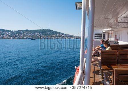 Istanbul, Turkey - September 18th 2019. Tourists Enjoy The Sun On Board A Ferry Between Moda, Kadkoy