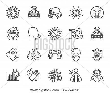 Coronavirus Line Icons. Medical Protective Mask, Washing Hands Hygiene, Eu Shut Borders. Stay Home,