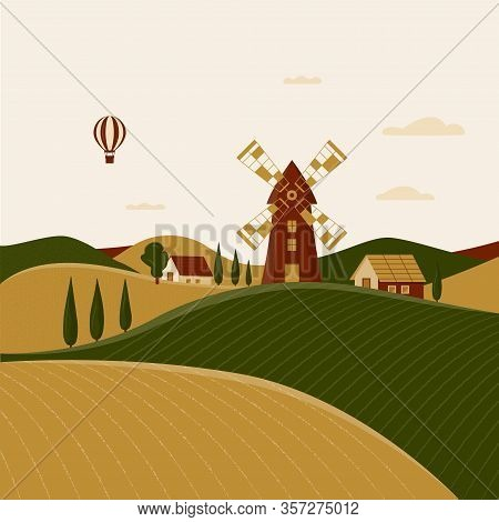 Rural Landscape With Windmill And Farmhouses. Vector Illustration Of The Italian Countryside. Spring