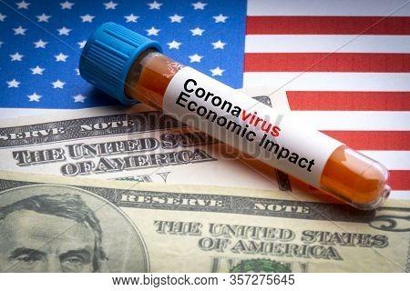 Coronavirus Economic Impact Text, Us Dollar And Blood Sample Vacuum Tube On America Flags Background