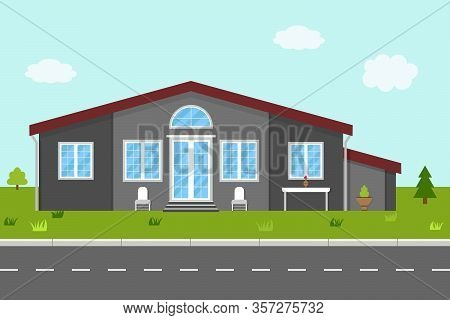 House In Flat Style. Home With Green Garden, Grass And Trees In Street. Building Without Fence. Cott