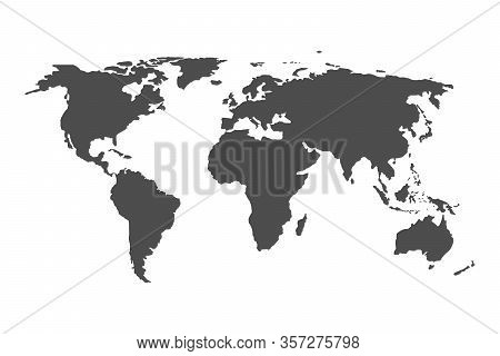 World Map. Grey Earth Isolated On White Background. Continent On The Globe. Asia, Africa, Europe, Au