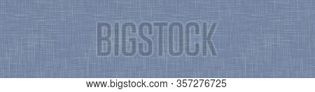 Natural French Blue Linen Woven Texture Border Background. Old Flax Fibre Seamless Pattern. Organic