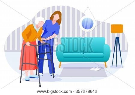 Home Care Services For Seniors. Nurse Or Volunteer Worker Taking Care Of An Elderly Woman. Vector Fl
