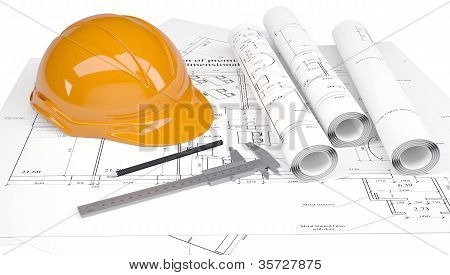 Construction helmet and calipers in the drawings