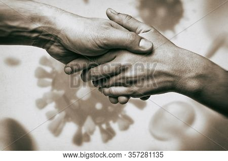 Image Of Humans Handshake On Coronavirus Background. Concept Of Rescue From Global Pandemic.