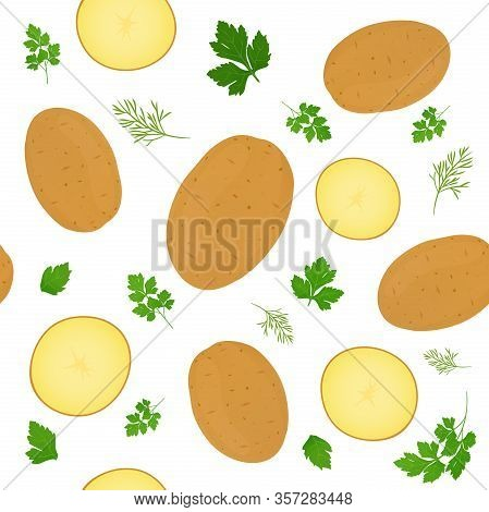 Whole Potatoes And Potato Slices Isolated On White Background. Unpeeled Potatoes Tuber With Parsley