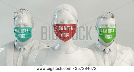 I Am Not a Virus Fighting Against Racism 3D Render