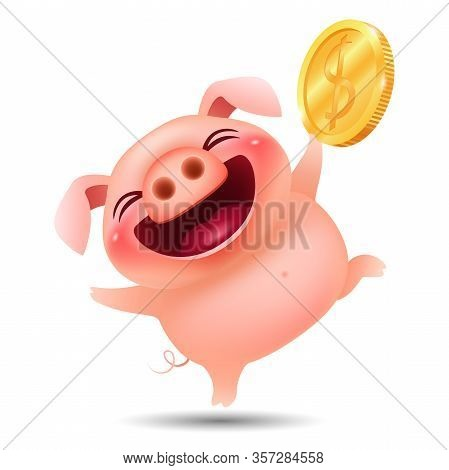 Funny Cartoon Piggy With Big Gold Dollar Coin On White Background. Vector Illustration.