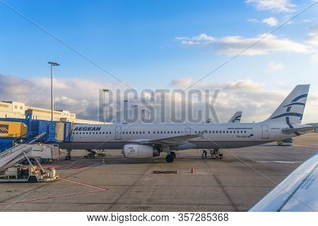 Athens, Greece - October 26 2017: Aegean Airlines Aircraft Grounded At Airport Tarmac. Greek Flag Ca