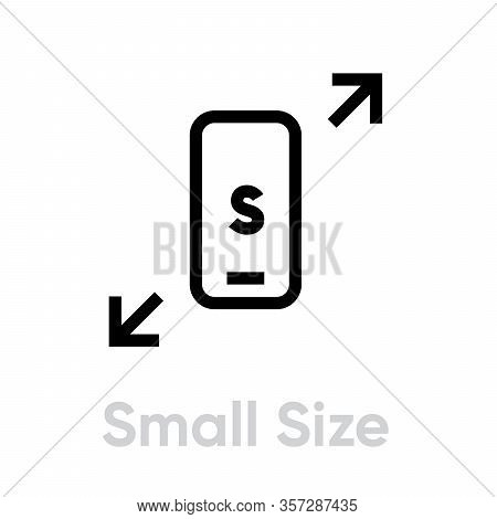 Tech Specs Small Size Phone Icon. Editable Vector Outline.