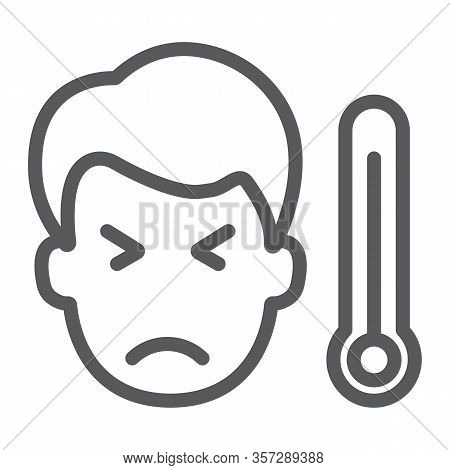Sick Man With Thermometer Line Icon, Virus And Microorganism, Covid 19 Sign, Vector Graphics, A Line
