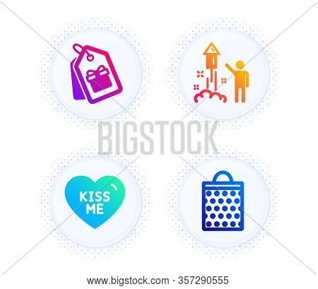 Fireworks, Coupons And Kiss Me Icons Simple Set. Button With Halftone Dots. Shopping Bag Sign. Party