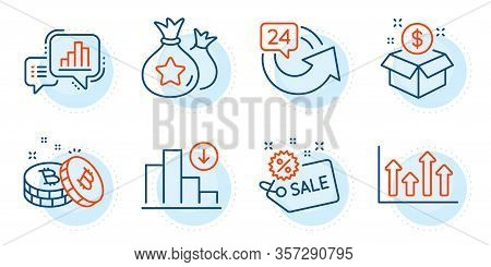 Graph Chart, Decreasing Graph And Post Package Signs. Sale, 24 Hours And Loyalty Points Line Icons S