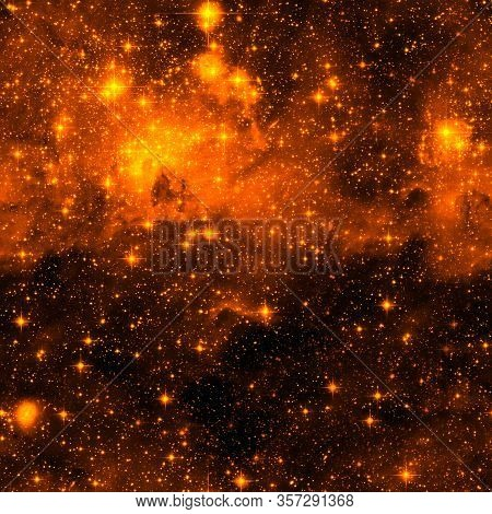 Outer Space Seamless Pattern. Red Abstract Background. Outer Space Repeated Tile For Wrapping Paper,