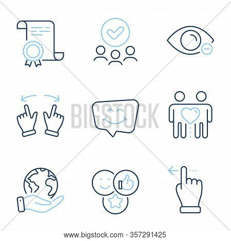 Like, Move Gesture And Touchscreen Gesture Line Icons Set. Diploma Certificate, Save Planet, Group O